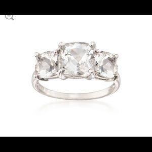 Diamonique 3 Ct 3 Stone Sterling Silver Ring 7